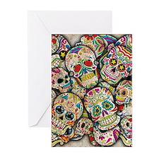 Sugar Skull Collage Greeting Cards