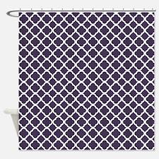 Navy Blue Moroccan Lattice Shower Curtain