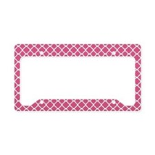 Pink Moroccan Lattice License Plate Holder