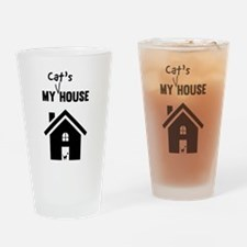 My cats house Drinking Glass