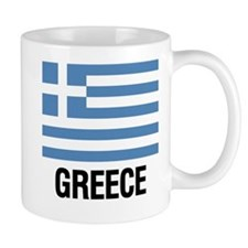 Greek Flag with Large Block Text Greece Mugs