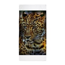 Funny Cute face leopard animal cat wild fun wildlife kid Beach Towel
