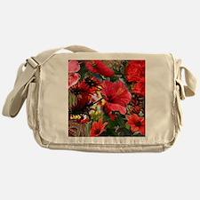 Funny Red flowers Messenger Bag