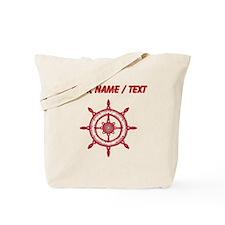 Custom Red Ship Wheel Tote Bag