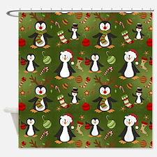Funny Christmas penguin Shower Curtain