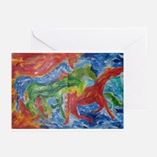 Wild Color Horses Greeting Cards (Pk of 10)