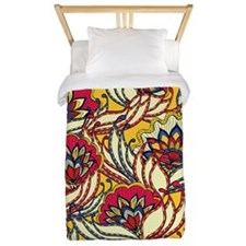 Yellow, Red Vintage Floral Twin Duvet