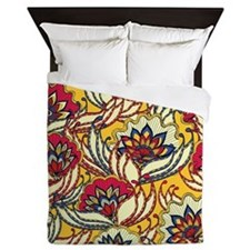 Yellow, Red Vintage Floral Queen Duvet
