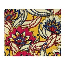 Yellow, Red Vintage Floral Throw Blanket