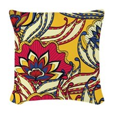 Yellow, Red Vintage Floral Woven Throw Pillow
