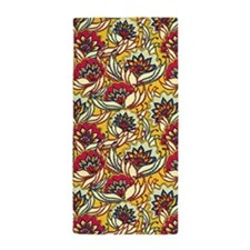 Yellow, Red Vintage Floral Beach Towel