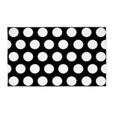 #Black And White Polka Dots 3'x5' Area Rug