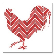 """Chevron Rooster Square Car Magnet 3"""" x 3"""""""