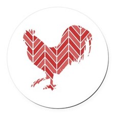 Chevron Rooster Round Car Magnet