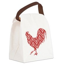 Chevron Rooster Canvas Lunch Bag