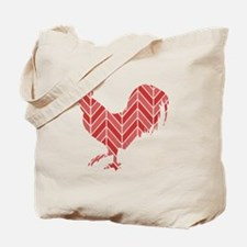 Chevron Rooster Tote Bag