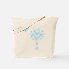 blue palmetto chevron Tote Bag