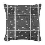 Grey Grid Woven Throw Pillow