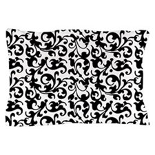 Cute White and black damask Pillow Case