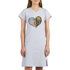 Original Music Heart Treble Cle Women's Nightshirt