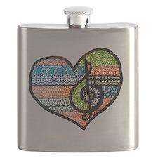 Original Music Heart Treble Clef Art Flask