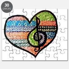 Original Music Heart Treble Clef Art Puzzle