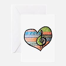Original Music Heart Treble Clef Art Greeting Card