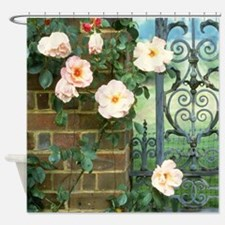 Flowers On A Wall Shower Curtain