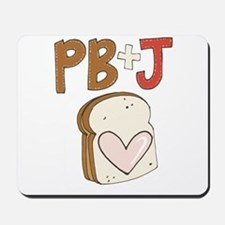 PB and J Sandwich Heart Mousepad