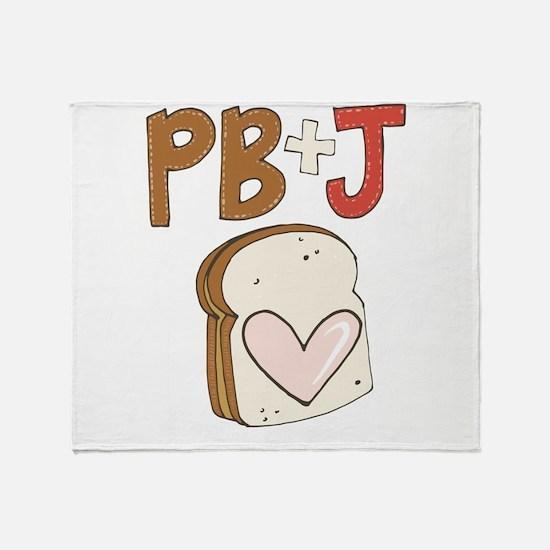 PB and J Sandwich Heart Throw Blanket