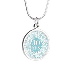 Unique 30 years anniversary Silver Round Necklace