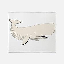 White Sperm Whale Throw Blanket