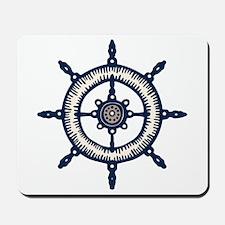Blue Ship Wheel Mousepad