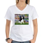 Lilies and Tri Cavalier Women's V-Neck T-Shirt