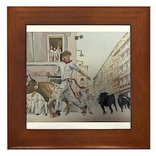 Cute Running of the bulls Framed Tile