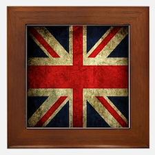 Grunge Uk Flag Framed Tile
