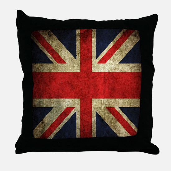 Grunge Uk Flag Throw Pillow