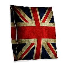 Grunge Uk Flag Burlap Throw Pillow