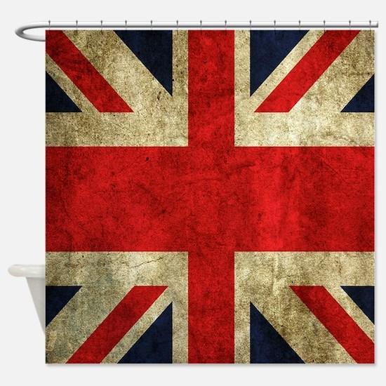 Grunge Uk Flag Shower Curtain