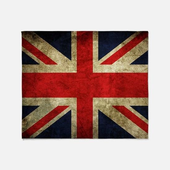 Grunge Uk Flag Throw Blanket