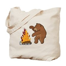 Camp Fire Bear Tote Bag