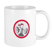 Weightlifter Lifting Barbell Circle Cartoon Mugs