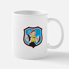 Weightlifter Lifting Barbell Shield Cartoon Mugs