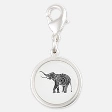 Black And White Ornate Floral Elephant Charms