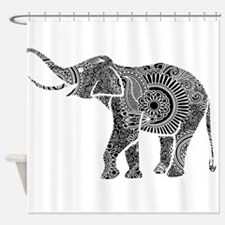 Cute Black white elephant Shower Curtain