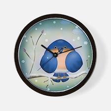 Blue Bird Winter Wall Clock