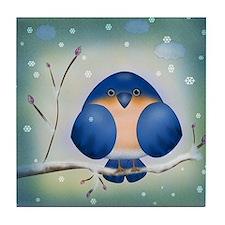 Blue Bird Winter Tile Coaster