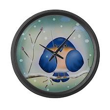 Blue Bird Winter Large Wall Clock