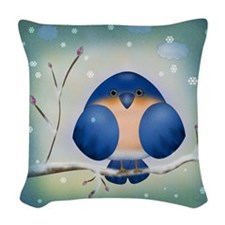 Blue Bird Winter Woven Throw Pillow