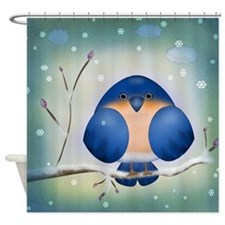 Blue Bird Winter Shower Curtain